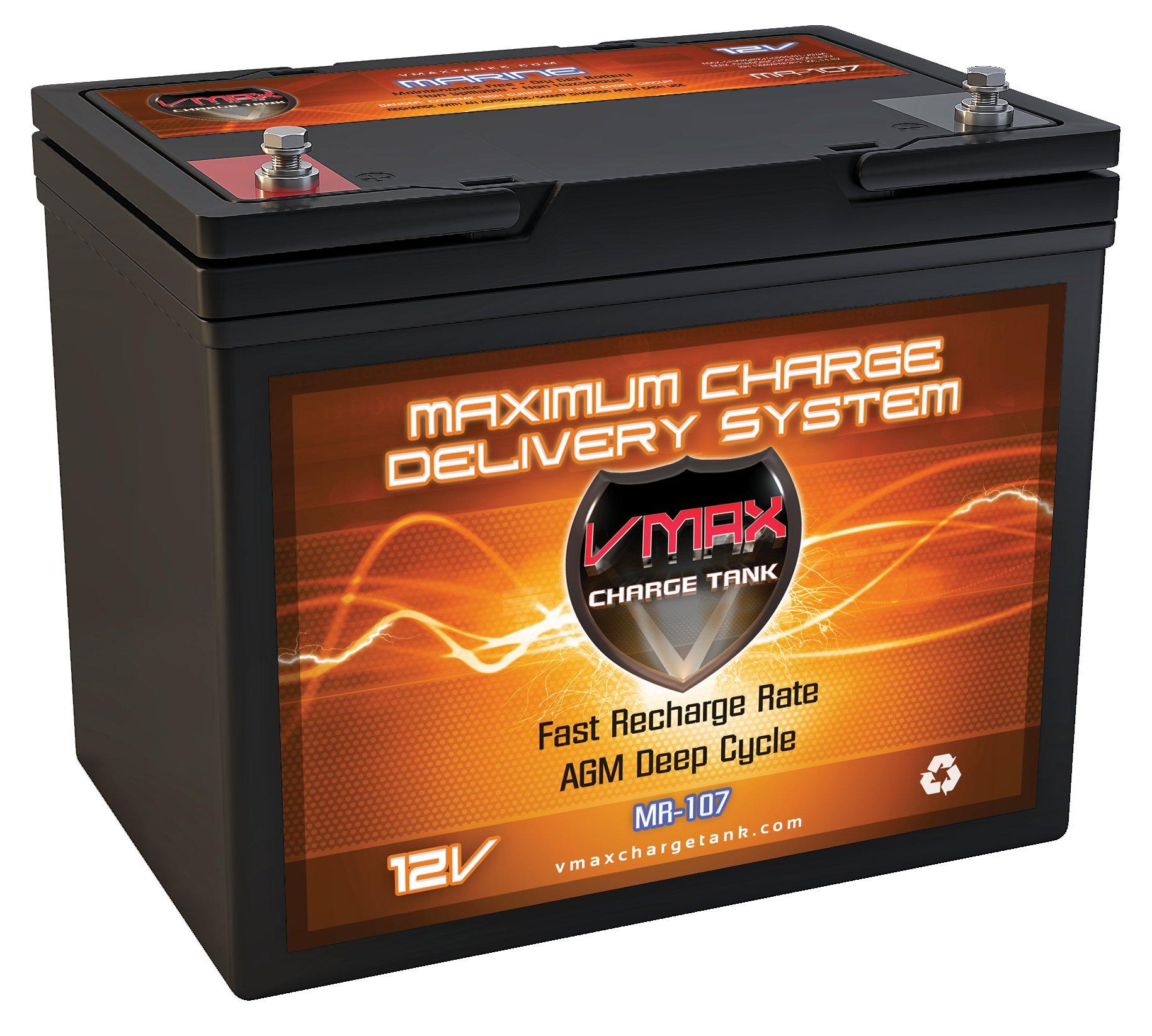 VMAX MR107-85 12V 85AH AGM Deep Cycle Marine Battery for Minn Kota Powerdrive V2 55PD AP 12v 55lb Trolling Motor