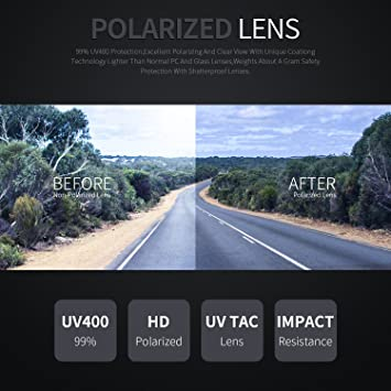 TOREGE polarizadas Gafas de Deporte para Hombres Mujeres para Ciclismo Correr Pesca Golf TR90 Unbreakable Marco TR010 - 1, White&Black Tips&Grey Lens: ...