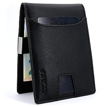 b7545c3371f9d JUNICOO Buddy - Geldbeutel mit Geldklammer und Münzfach aus Echt Leder und  Edelstahl in Schwarz -