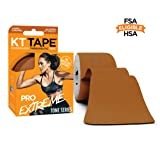 KT Tape Pro Extreme Therapeutic Elastic Kinesiology Sports Tape, 20 Pre Cut 10 inch Strips, 100% Synthetic Water Resistant Breathable, Pro & Olympic Choice, Cameo Caramel