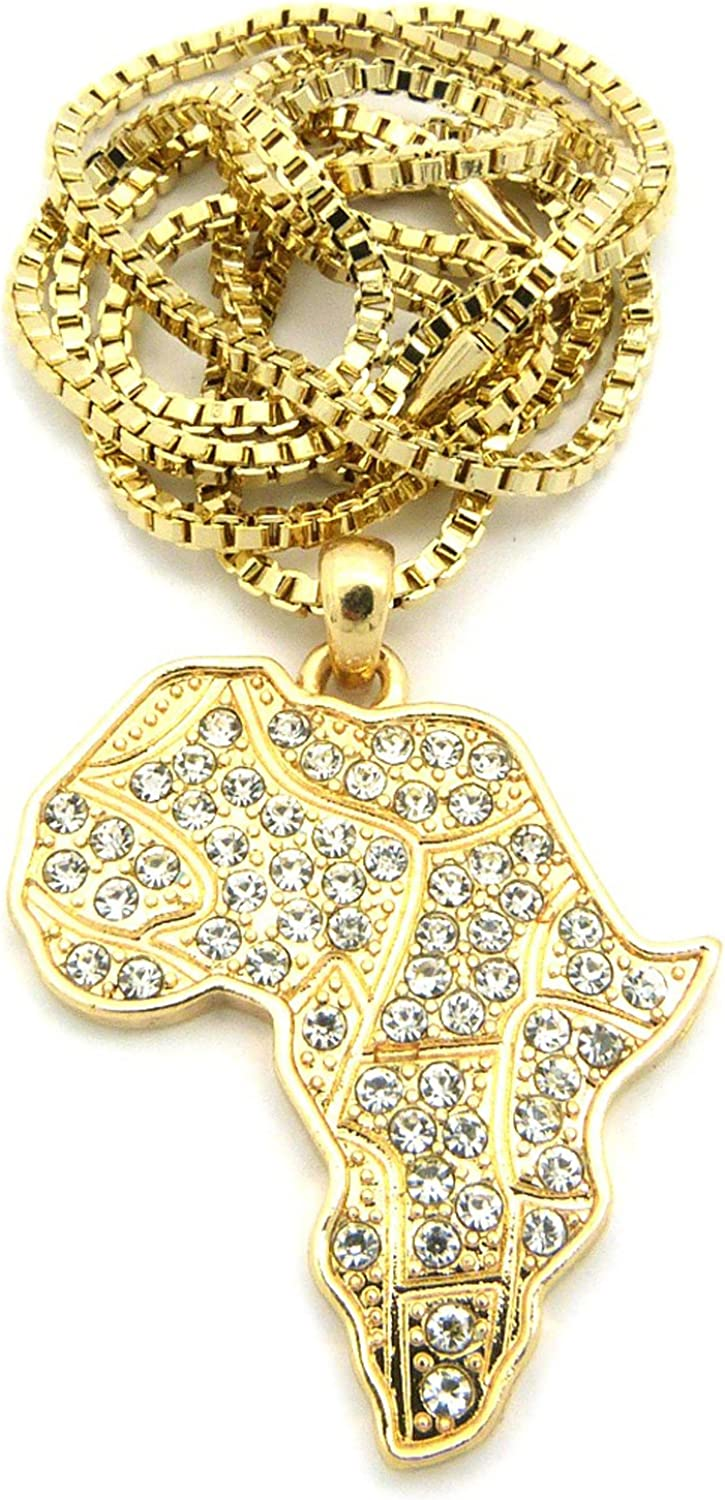 NYFASHION101 Iced Out Africa Micro Pendant w// 2mm 24 Box Chain Necklace in Gold-Tone XMP15GBX