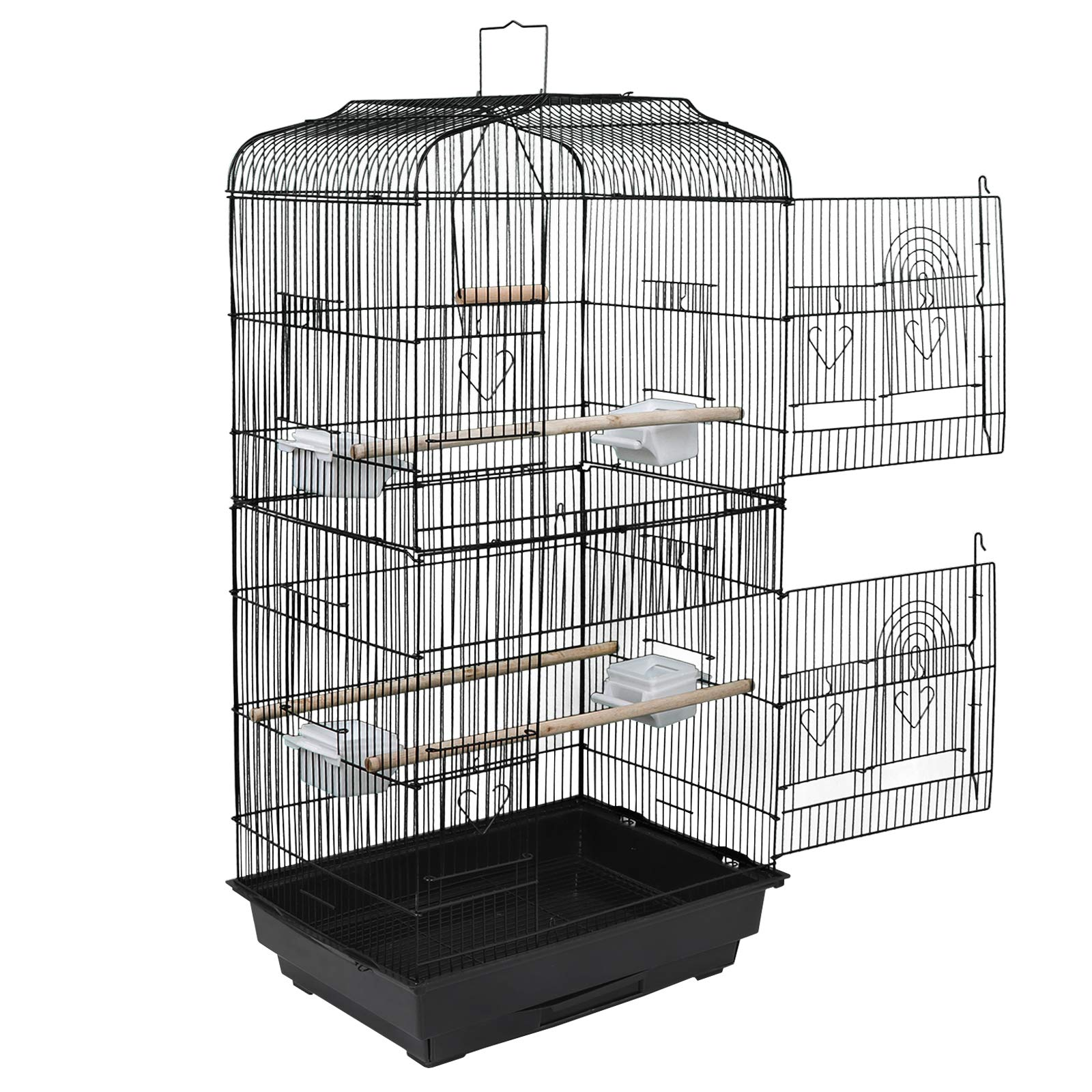 ZENY 59.3'' Bird Cage with Rolling Stand Wrought Iron Pet Bird Cage Parrot Cockatiel Cockatoo Parakeet Finches Birdcage Medium Pet House by ZENY