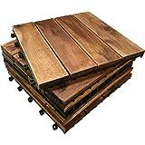 6 x in legno massiccio di Acacia legno componibile TILES. 4 stecche piastrelle, da giardino, Patio, terrazza, Hot Tub. piano quadrato, 30 cm, motivo: Piastrelle