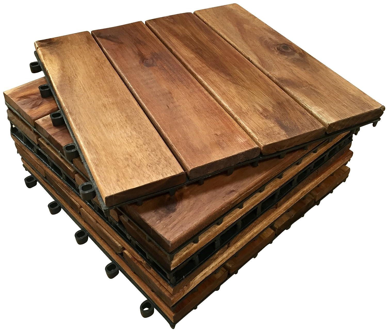 6 x Acacia de madera de madera con anillas en forma de láminas de diseño cilíndrico azulejos, 4, diseño de jardín, balcones, efecto. 30 cm cuadrado tabla para azulejos Click-Deck Hardwood Tiles
