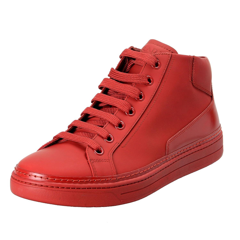 Prada メンズ 革のハイトップファッションスニーカーの靴 B07CB1K87Q