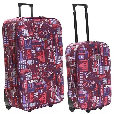 Slimbridge Algarve juego de 2 maletas ligeras, Rosado Multi ...