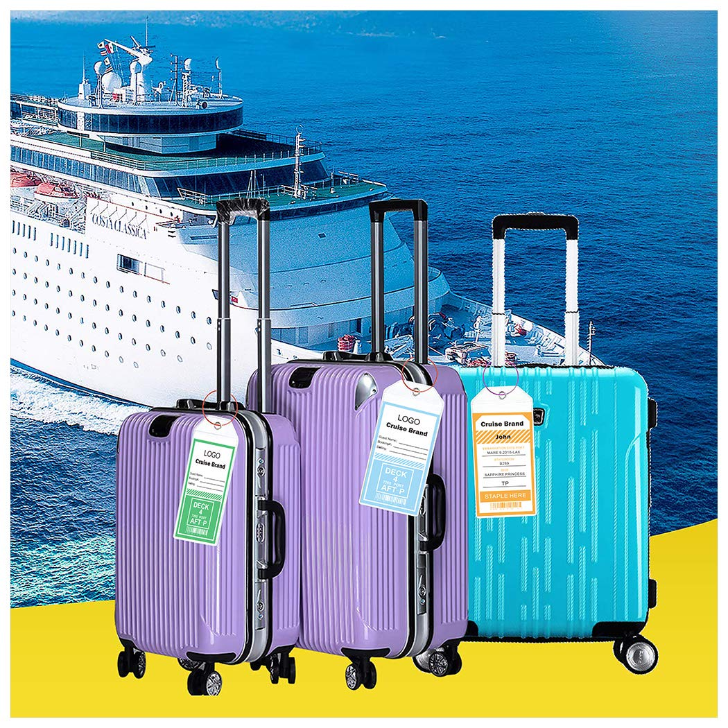Cruise Tags 12 Pack Both Sizes (Wide and Narrow) Luggage Etag Holders Zip Seal Steel Loops by Jeatonge (Image #7)