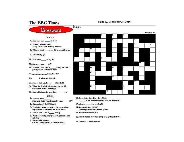 Amazon Com Unique Personalized Custom Made Crossword Puzzle For
