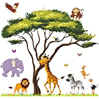Amaonm Giant Jungle Animal and Tree Wall Decals Removeable DIY Flower Lion Giraffe Monkey Wall Sticker Peel and Stick…