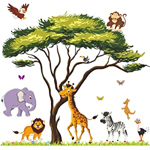 Amaonm Giant Jungle Animal and Tree Wall Decals Removeable DIY Flower Lion Giraffe Monkey Wall Sticker Peel and Stick Wall Decor for Baby Boys Nursery Kids Room Bedroom Living Room Classroom