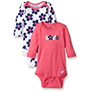 Gerber Baby Girls 2 Pack Long Sleeve Variety Onesies, Flowers, 3-6 Months