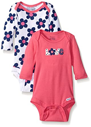 Gerber Baby Girls 2 Pack Long Sleeve Variety Onesies, Flowers, 0-3 Months