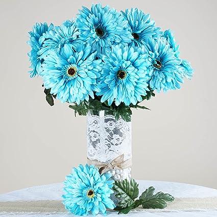 Amazon.com: BalsaCircle 28 Turquoise Silk Gerbera Daisy Flowers - 4 ...