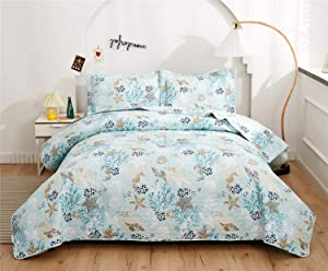 Ycosy 3-Piece Coastal Beach Bedspread Blue Marine Theme Quilt Set Bedding Seascape Images Vivid Sea Shell Coral Conch Sea Star Bed Covers Bedroom Decor (King, 1 Quilt+ 2 Shams)