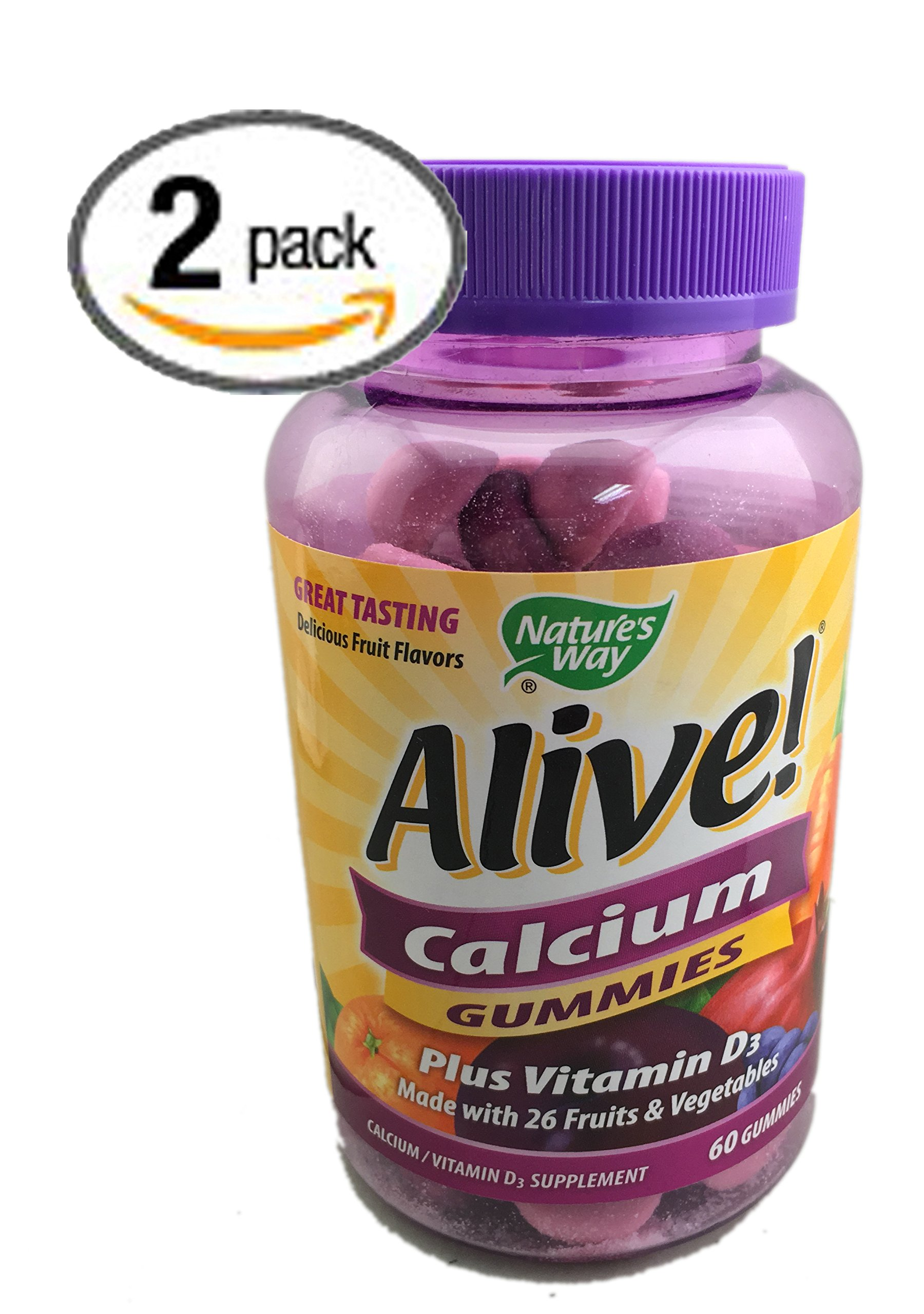 2-Pack Natures Way Alive! Calcium Gummies Plus Vitamin D3 - 60 Gummies Gluten Free and Vegetarian Friendly, 120 Calcium Gummies