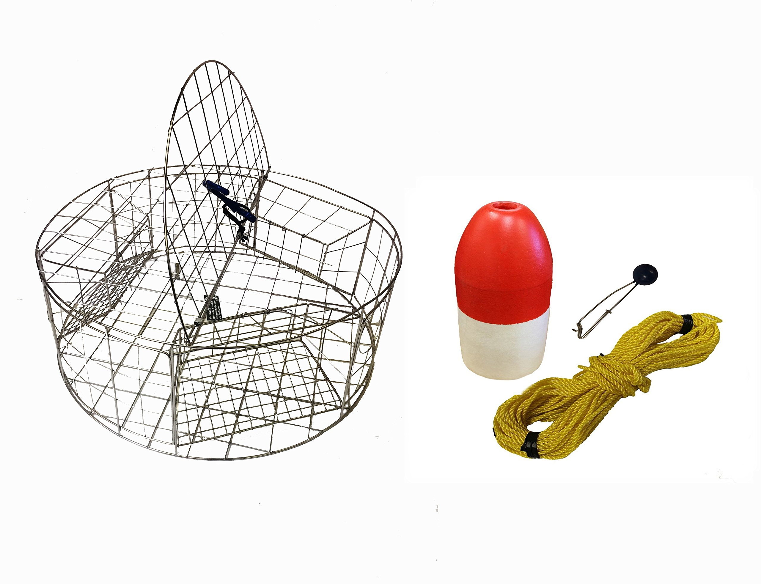 KUFA Stainless Steel Round Crab Trap with sacrificial anode Zinc & 1/4 x100' Poly rope with line weight & 6'' x 14'' Red/White float Combo (CT120+FWP103+ZIN1)