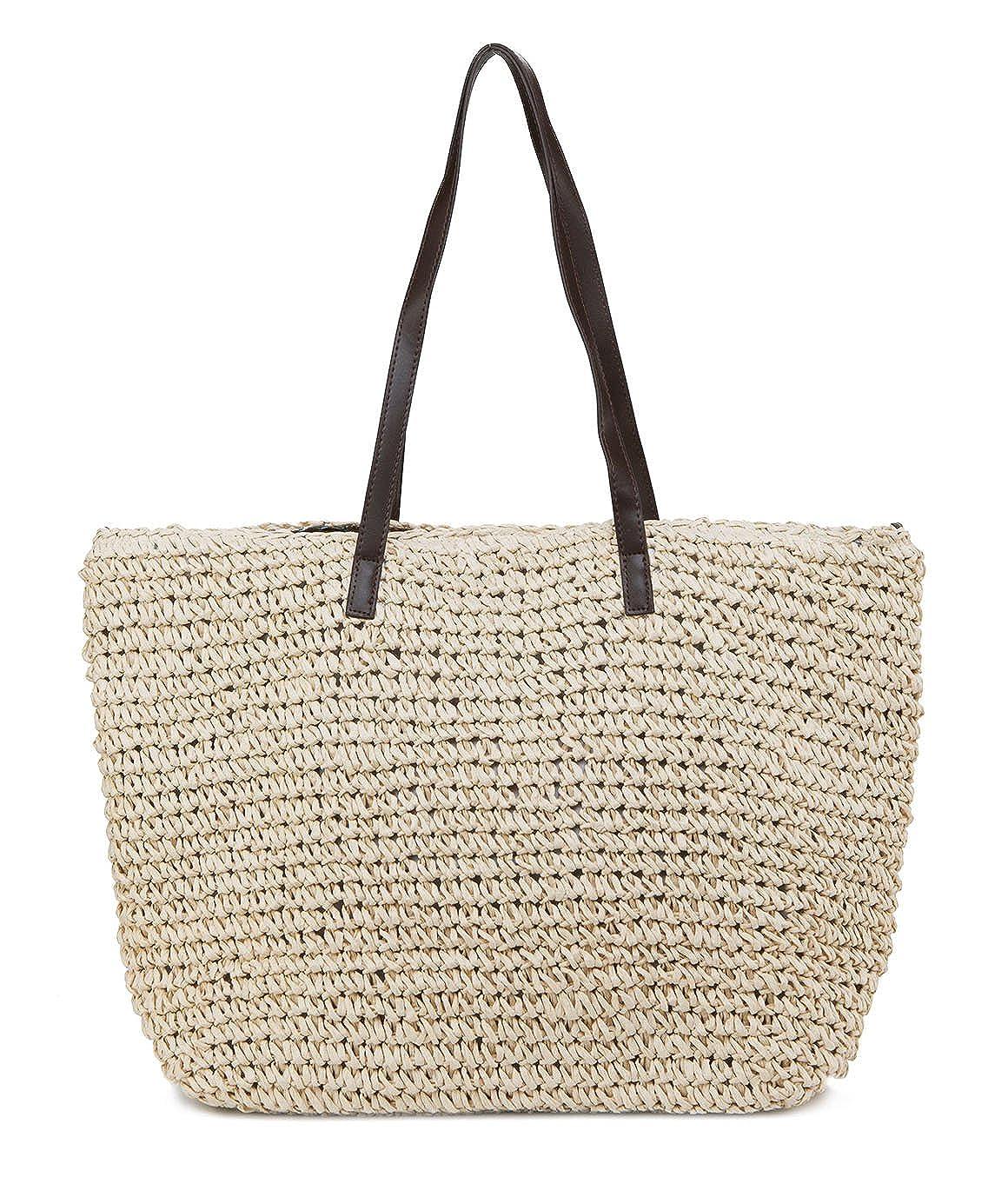 58e172ec5f Amazon.com  ILISHOP Hot Sale Women s Classic Straw Summer Beach Sea  Shoulder Bag Handbag Tote (Beige)  Shoes