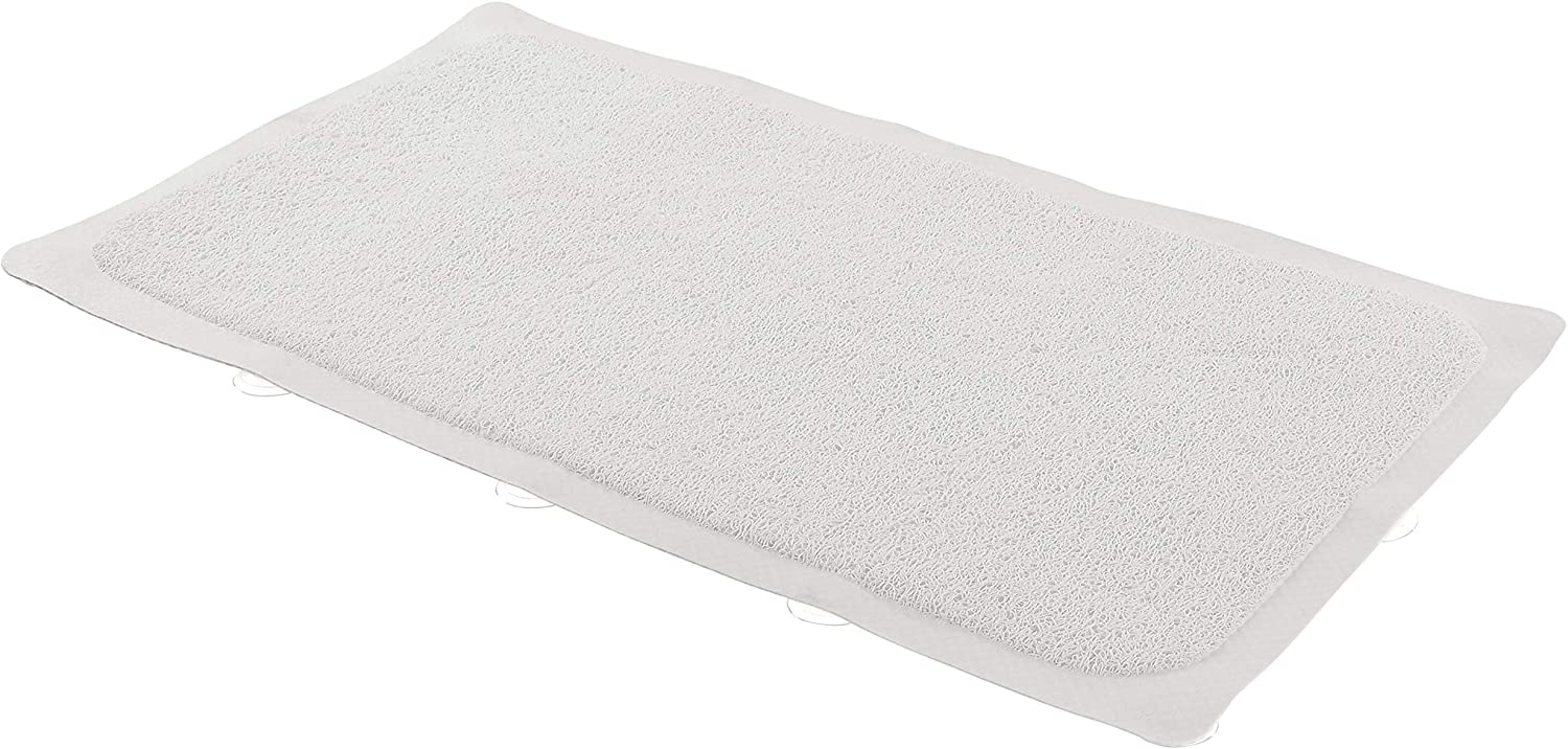 AmazonBasics Non-Slip Bath Mat with Soft Loofah Texture - White, 29.5 x 16.9 Inch