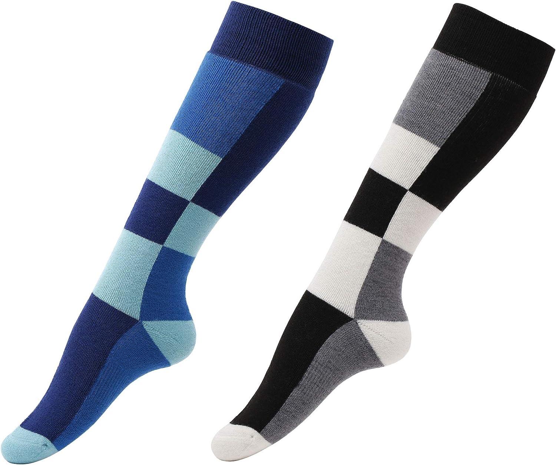 Women 's Outdoors ProfessionalスポーツウェアReinforced Cushioned Socks 2 Pairs_黒/白い Diamond+青 Diamond One Size
