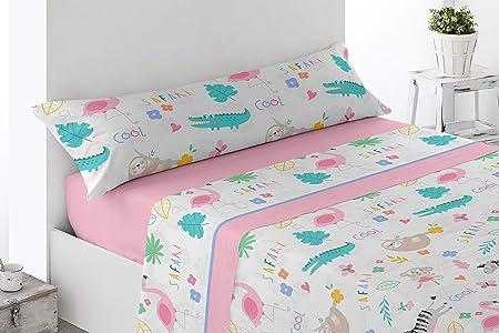 Energy Colors Textil Hogar - Junior - Cama 90 Juego Sábanas 3 Piezas 50% Algodón y Otras Fibras (Safari Pinj): Amazon.es: Hogar