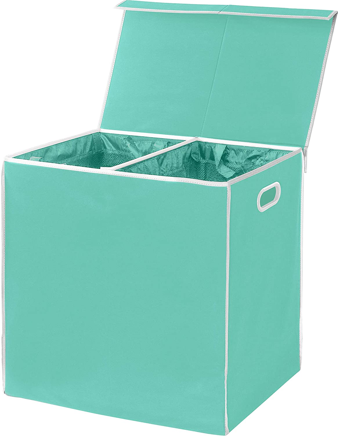 Simplehouseware Double Laundry Hamper with Lid and Removable Laundry Bags, Turquoise