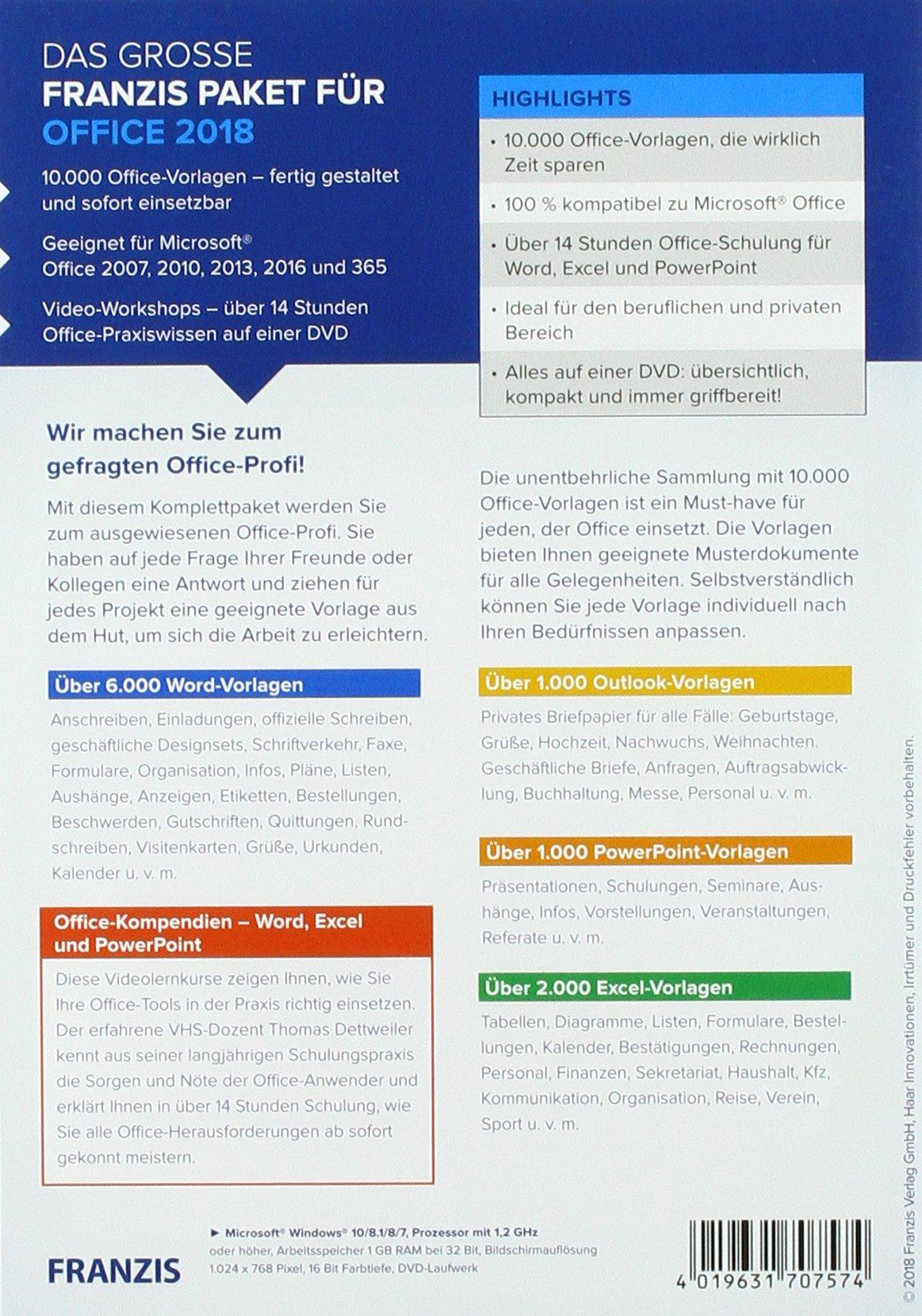 Das Große Franzis Paket Für Office 2018 4019631707574