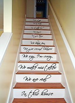 Autocollants Decoration Pour Marche D Escaliers En Vinyl 73 X 130 Cm Avec Citation In This House We Are Family We Love Decalcomanie Gratuite