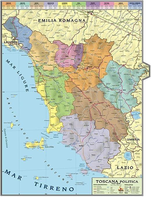 Cartina Topografica Del Lazio.Carta Geografica Murale Regionale Toscana 100x140 Bifacciale Fisica E Politica Amazon It Cancelleria E Prodotti Per Ufficio