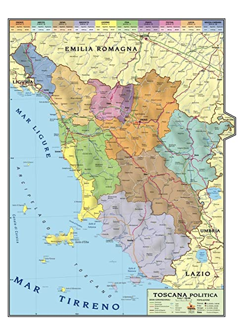 Cartina Geografica Fisica Lazio.Carta Geografica Murale Regionale Toscana 100x140 Bifacciale