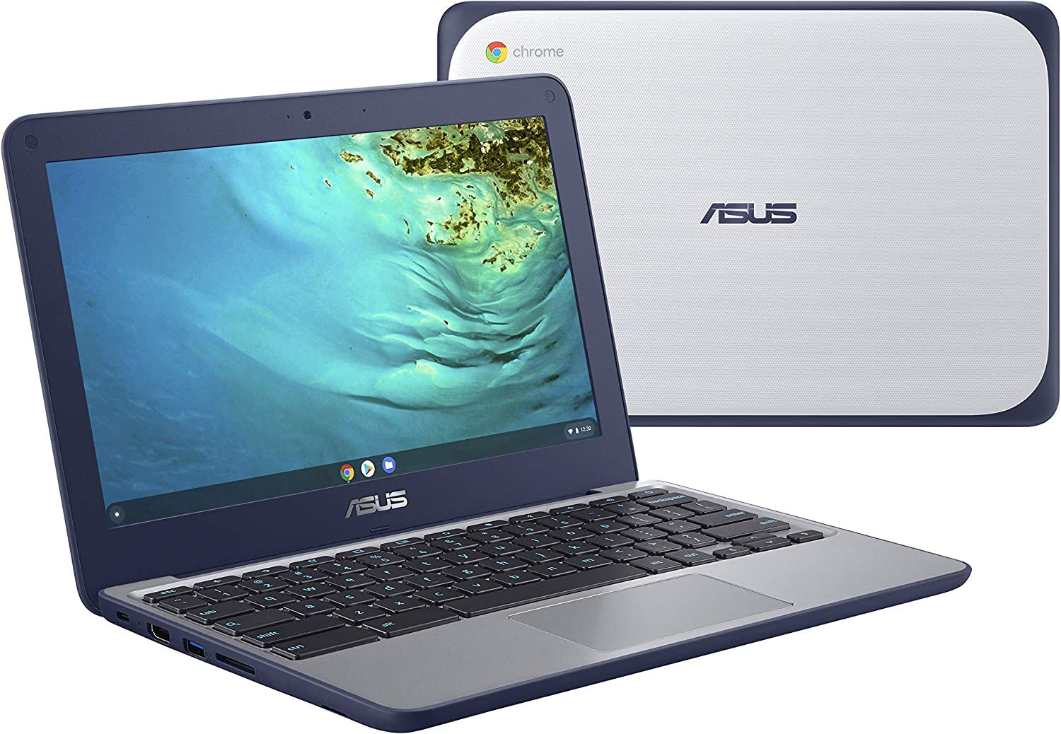 "ASUS Chromebook C202XA Rugged & Spill Resistant Laptop, 11.6"" HD, 180 Degree, MediaTek 8173C Processor, 4GB RAM, 32GB Storage, MIL-STD 810G Durability, Blue, Education, Chrome OS, C202XA-YB04-BL"