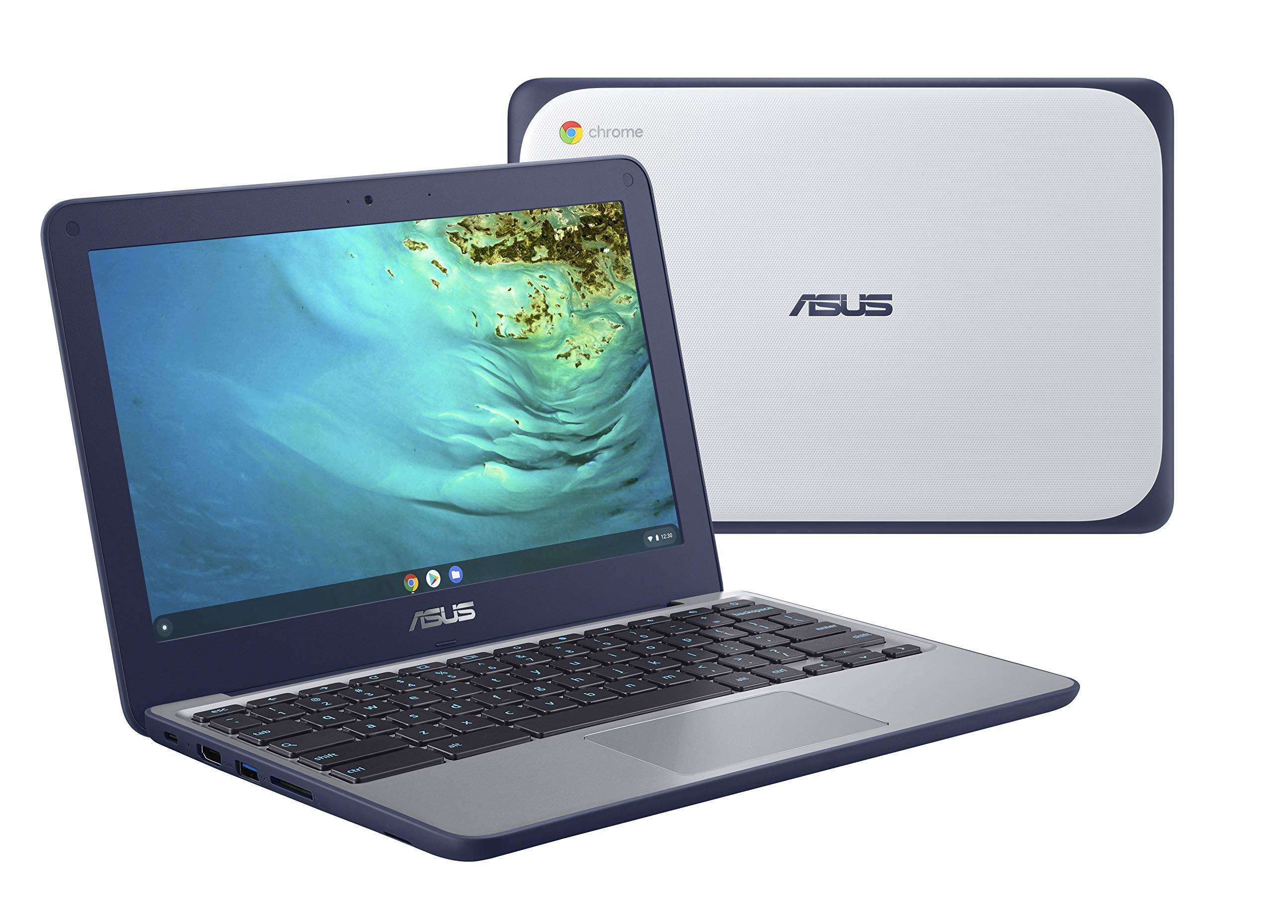 "ASUS Chromebook C202XA Rugged & Spill Resistant Laptop, 11.6"" HD, 180 Degree, MediaTek 8173C Processor, 4GB RAM, 32GB Storage, MIL-STD 810G Durability, Blue, Education, Chrome OS, C202XA-YB04-BL"