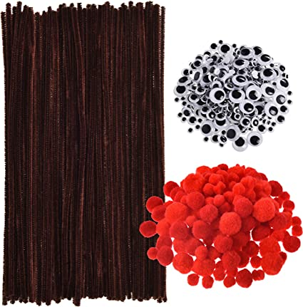 50pcs brown Chenille Stems 30cm Craft Pipe Cleaners Craft Stem hand-woven