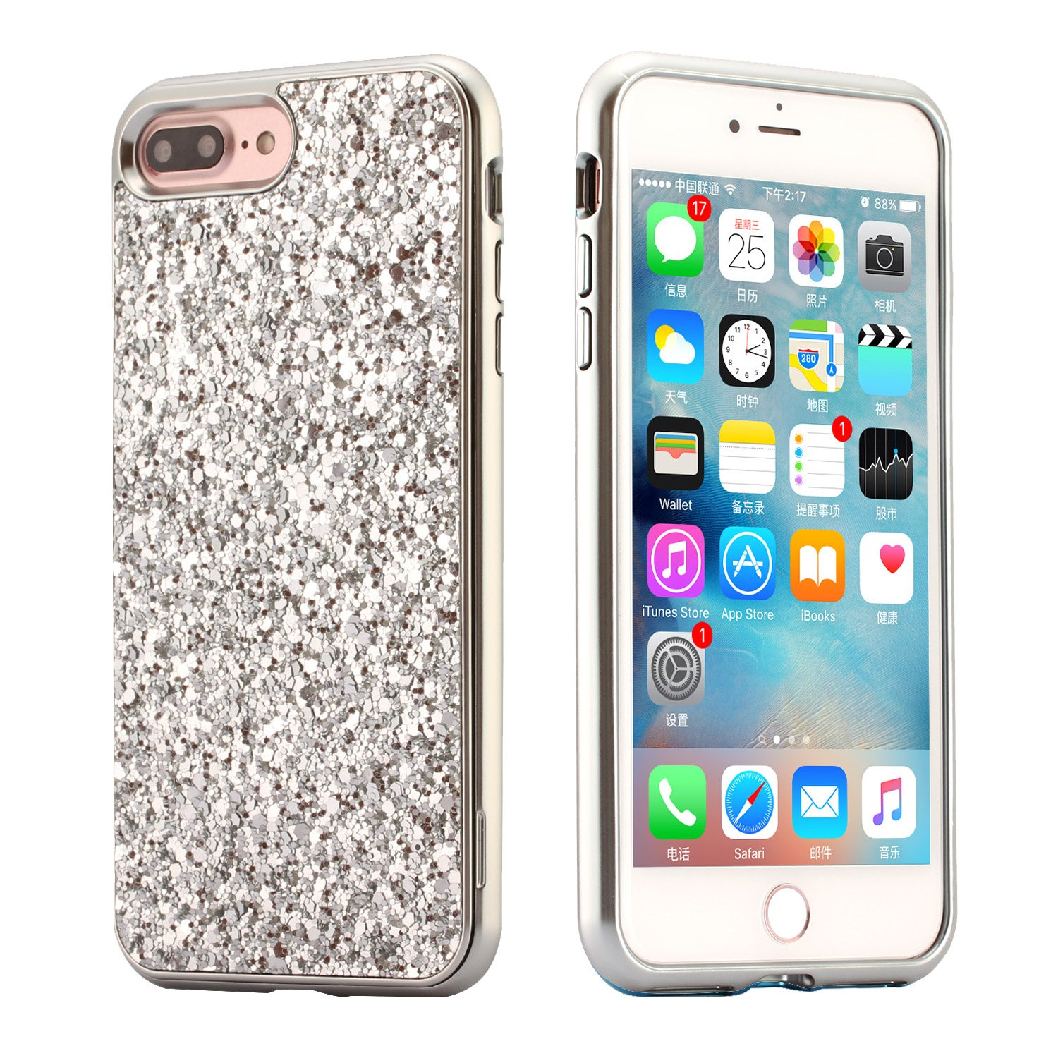 Case for iPhone 8 Plus,iPhone 7 Plus Case Glitter,BtDuck Bling Metal Case Shockproof Phone Protector Shiny Fashion Style Case Silver Clear View Cover Cute Hard Case Rose Gold Anti-slip Holster Upscale Skin Slim Fit Phone Protector Clear Case Pink for Girl