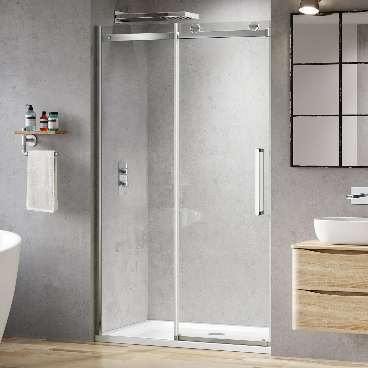 iBathUK 1200 mm Luxury Frameless 8mm Sliding Easy Clean Glass Shower Enclosure Cubicle Door