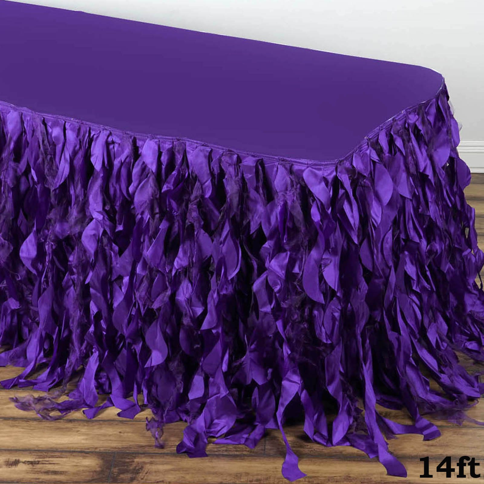 Tableclothsfactory 14ft Enchanting Curly Willow Taffeta Table Skirt for Kitchen Dining Catering Wedding Birthday Party Events - Purple