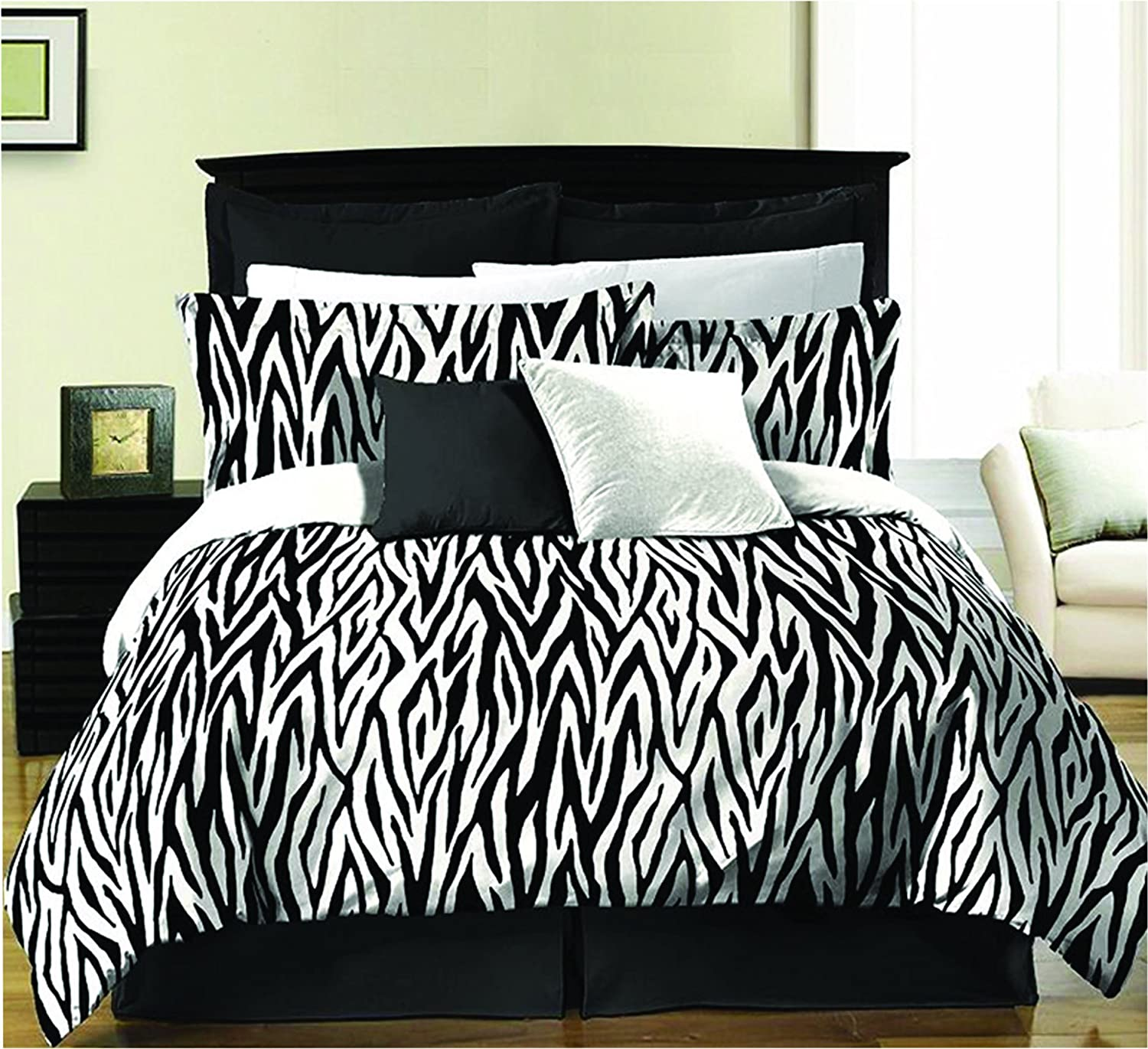 Zebra 8-piece Bed in a Bag Set Pattern Queen Linen Factory ZEBRA - QUEEN