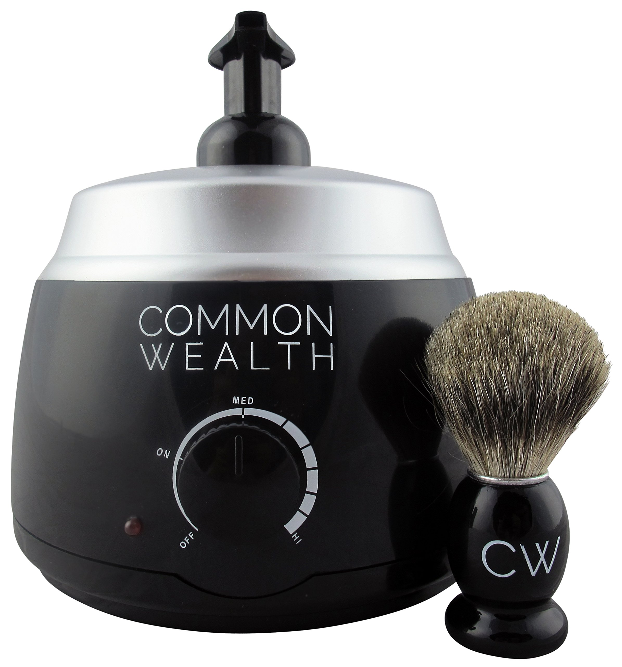 Common Wealth INTERNATIONAL 220V Professional Deluxe Hot Lather Machine Barber Latherizer King Size Black Color With Bonus 100% Badger Shaving Brush & 8oz Lather Concentrate by Commonwealth