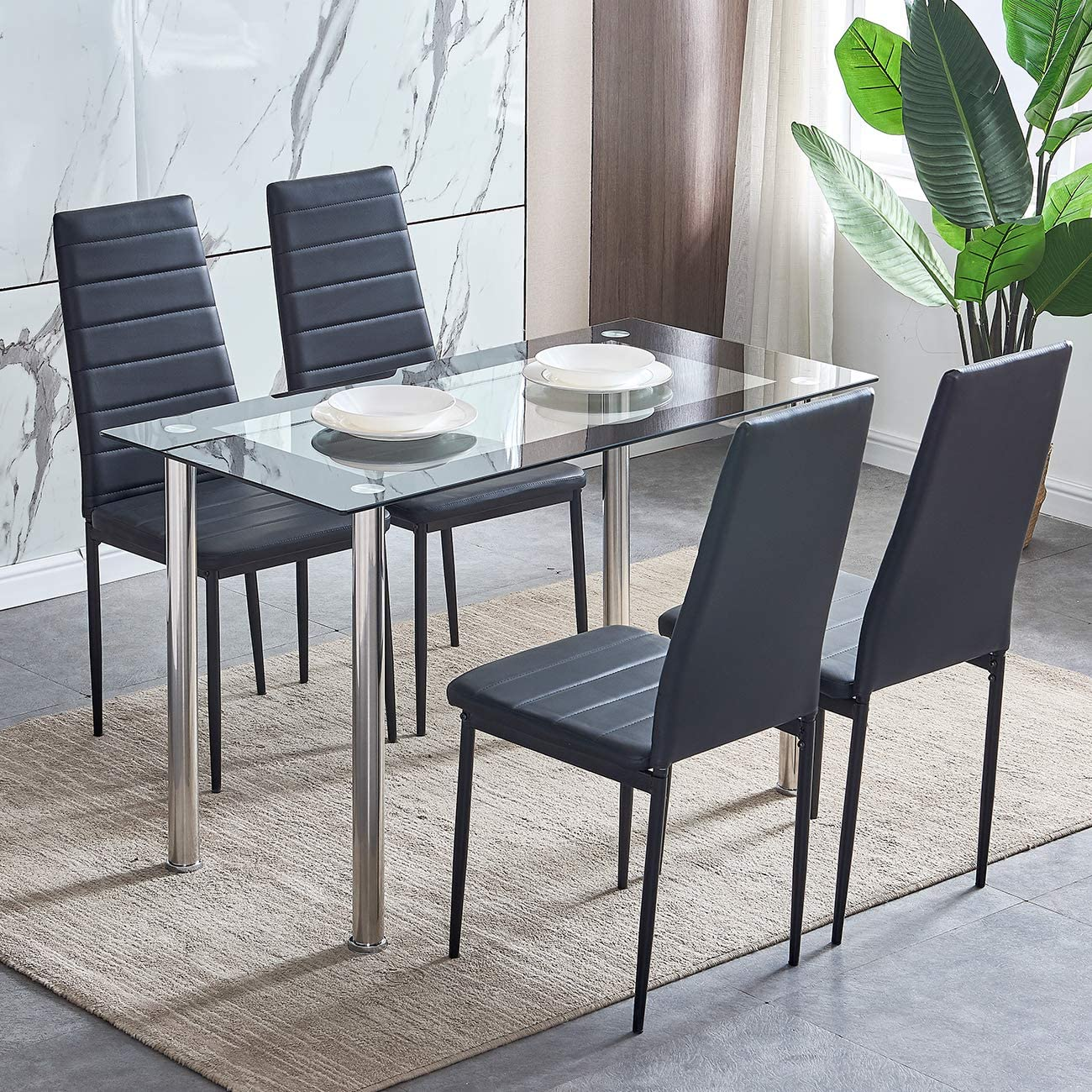 Beliwin Glass Dining Table Rectangular Furniture With Chrome Legs For Kitchen Dining Room Furniture Dining Room Furniture