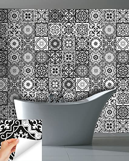 Amazoncom Tile Stickers PC Set Authentic Traditional Talavera - Black and white talavera tile