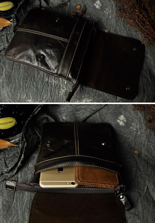 Leaokuu Mens Genuine Leather Coffee Fanny Small Messenger Shoulder Waist Bag Pack The 8711 Black