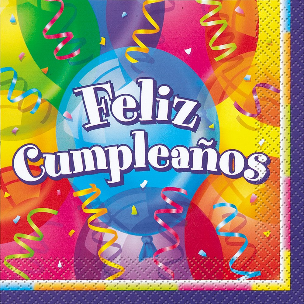 Amazon.com: Feliz Cumpleanos Birthday Beverage Napkins, 16ct ...