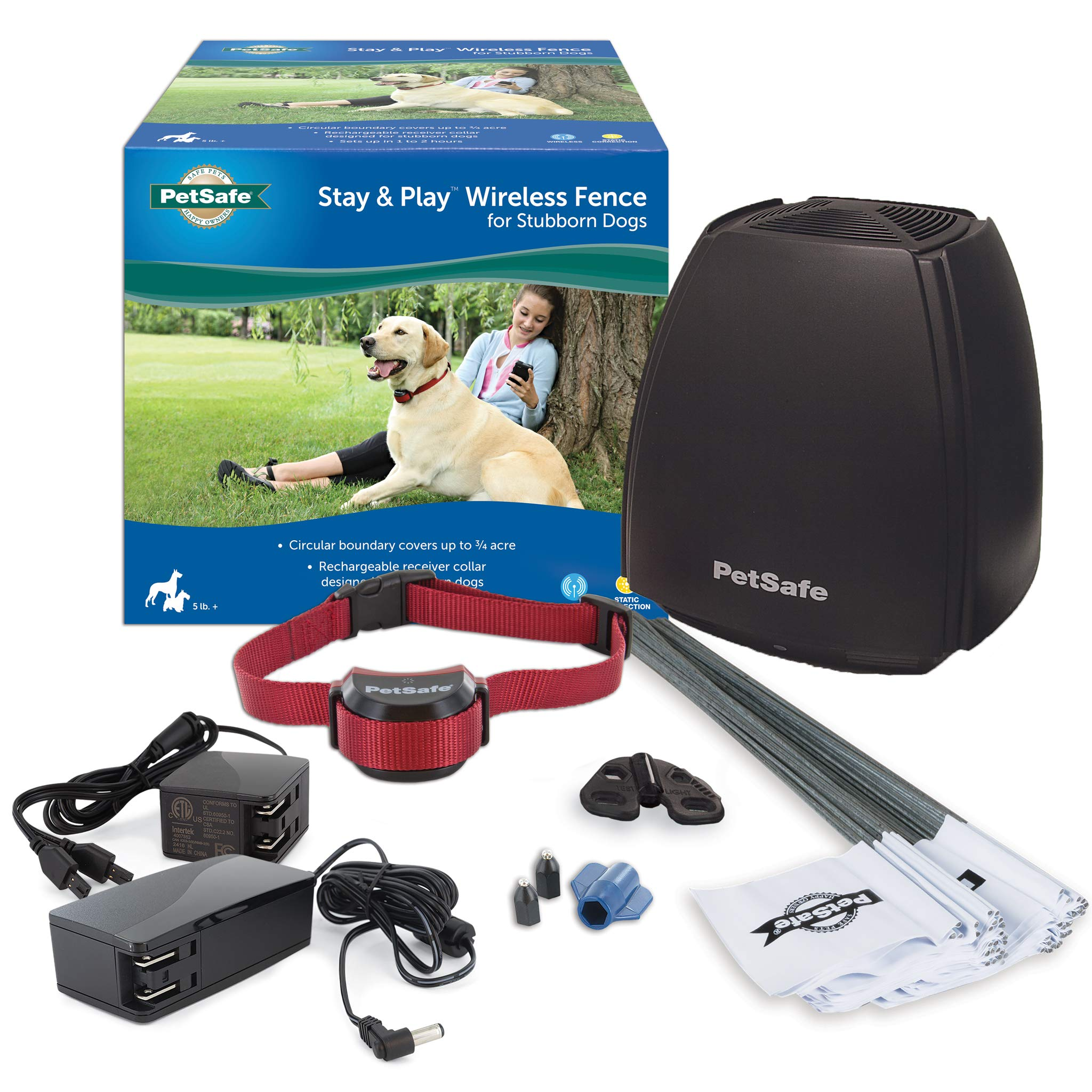 PetSafe Stay & Play Wireless Fence for Stubborn Dogs - Above Ground Electric Pet Fence - from the Parent Company of INVISIBLE FENCE Brand by PetSafe
