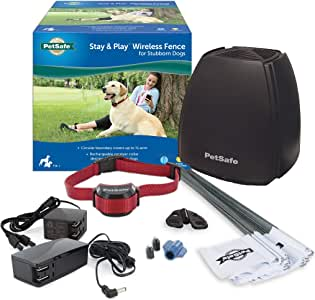 PetSafe Stay and Play Wireless Fence for Stubborn Dogs from the Parent Company of INVISIBLE FENCE Brand - Above Ground Electric Pet Fence with Waterproof and Rechargeable Training Collar