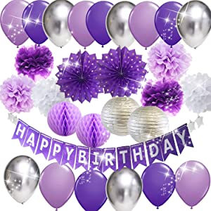 Purple Silver Birthday Party Decorations for Women Happy Birthday Banner Purple Silver Latex Balloons Polka Dot Paper Fans/Girl Purple Birthday Decorations for Women 30th/40th/50th/60th Birthday Photo Backdrop