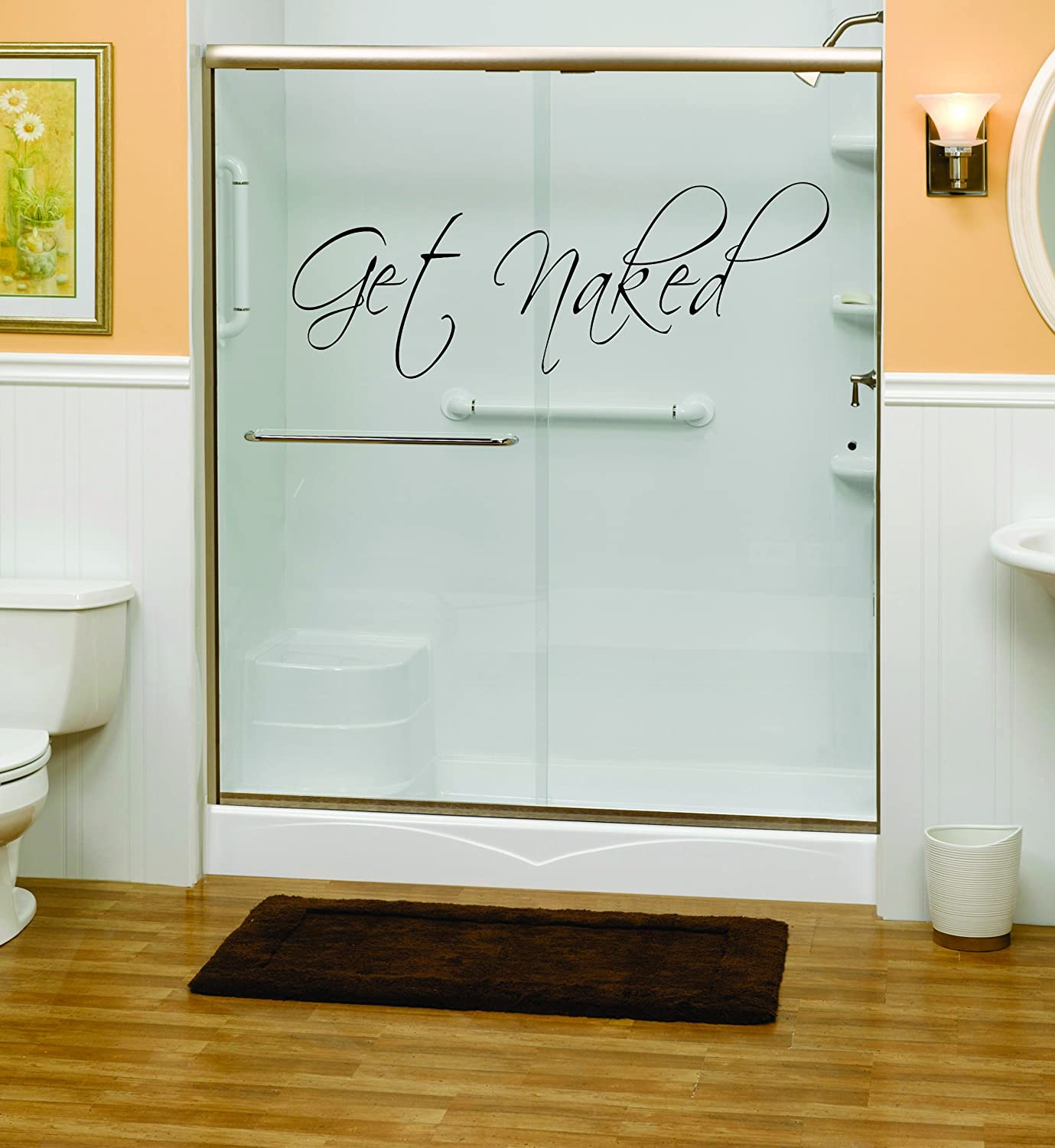 Get Naked Bathroom Shower Wall Decal Vinyl Art   Wall Decor Stickers    Amazon.com