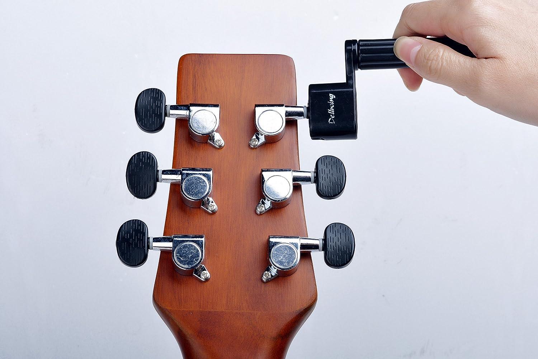 Dellwing Manivela de primera calidad para guitarras - guitarra acústica, guitarra de concierto, guitarra clásica y guitarra eléctrica - de color negro y ...
