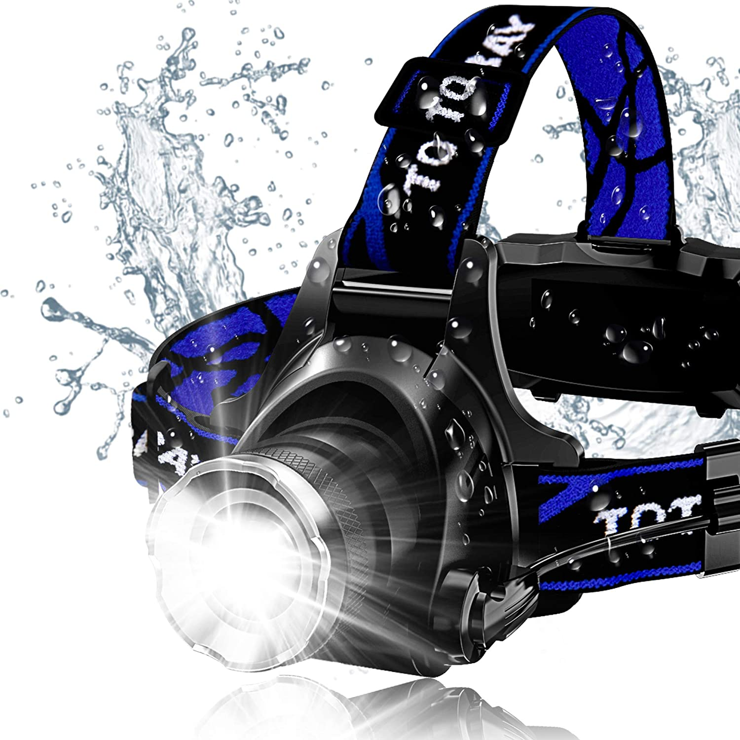 Headlamp, Super Bright LED Headlamps 18650 USB Rechargeable IPX4 Waterproof Flashlight with Zoomable Work Light, Hard Hat Light for Camping, Hiking, Outdoors (Blue): Sports & Outdoors