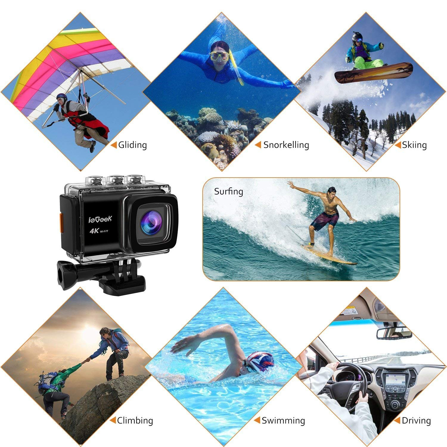 Action Camera, ieGeek 4K 20MP WiFi Waterproof Sports Cam Ultra HD Underwater Camera DV Camcorder EIS Image Stabilizer 170 Degree Wide-Angle with 2 Battery/External Microphone/Carry Case/Accessory Kit by ieGeek (Image #8)