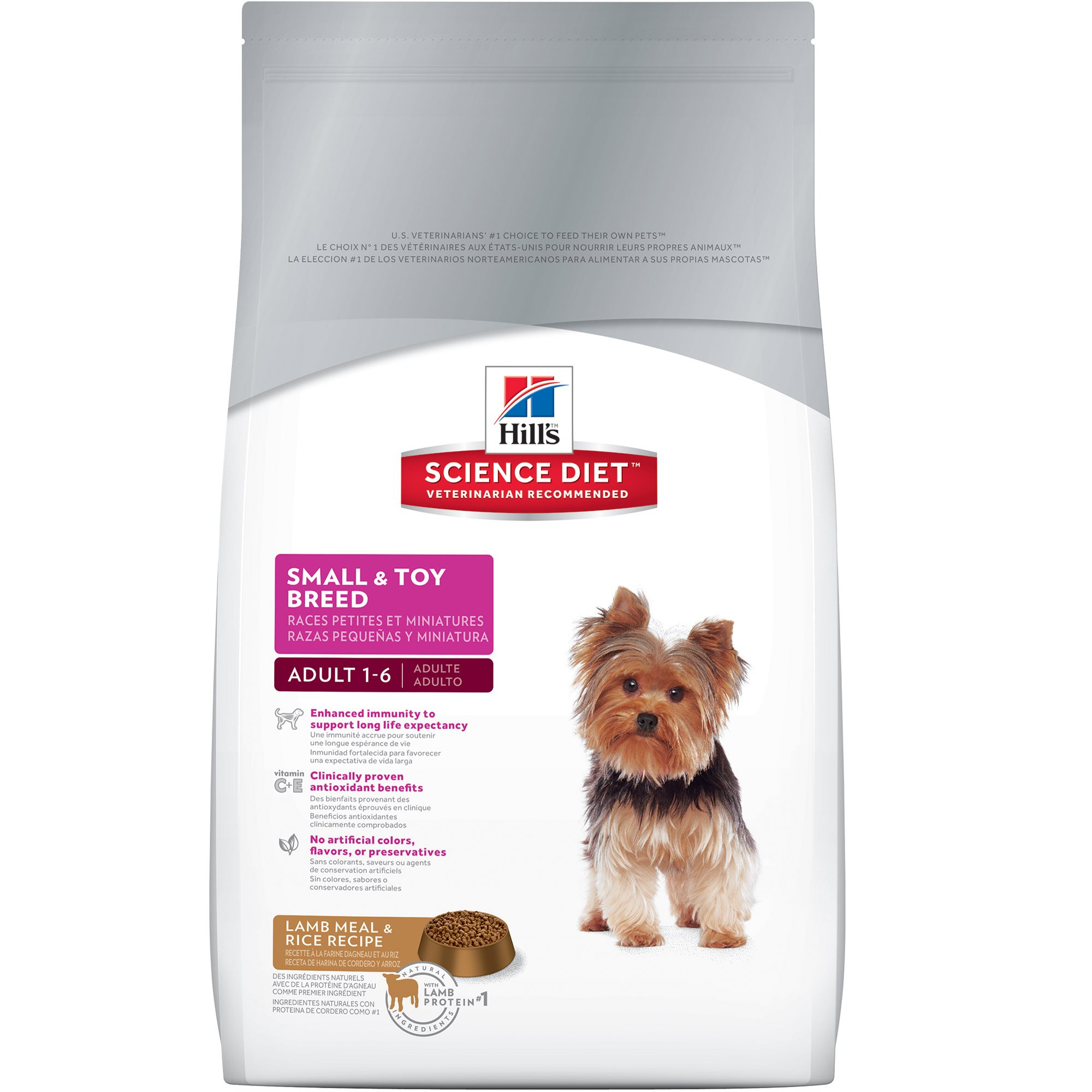 Hill's Science Diet Adult Small & Toy Breed Dog Food, Lamb Meal & Rice Recipe Dry Dog Food, 15.5 lb Bag