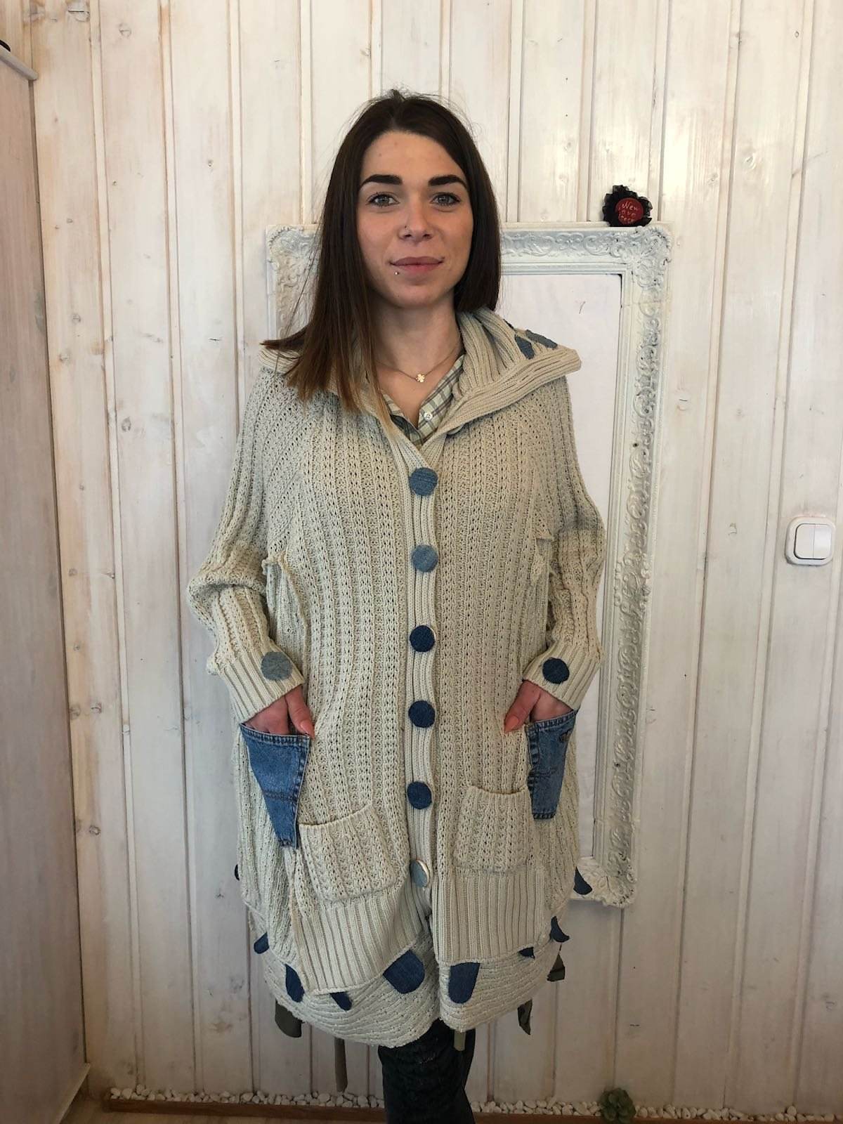 All sizes Woolen Off White Poncho with Jeans Pockets